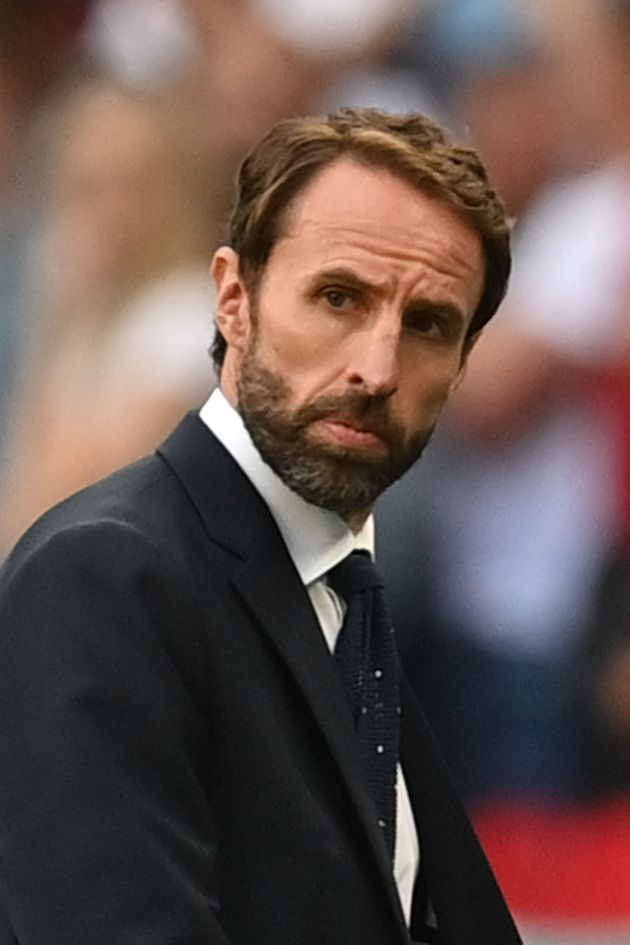 England's coach Gareth Southgate looks on during the UEFA EURO 2020 semi-final football match between...