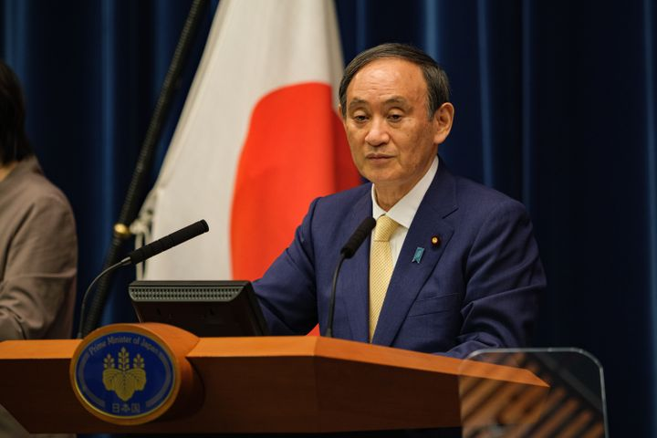 Japan's Prime Minister Yoshihide Suga, seen during a press conference on Thursday, declareda state of emergency in Toky