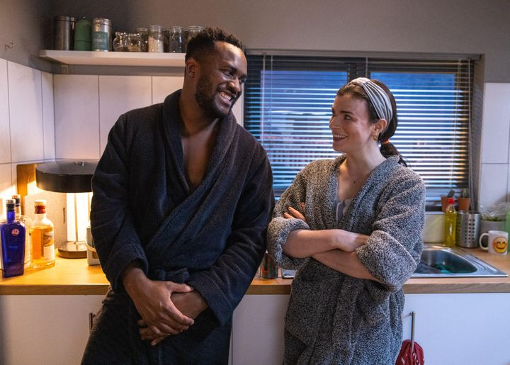 """Aine (Aisling Bea) and her roommate and friend Bradley (Kadiff Kirwan) in Season 2 of """"This Way Up."""""""