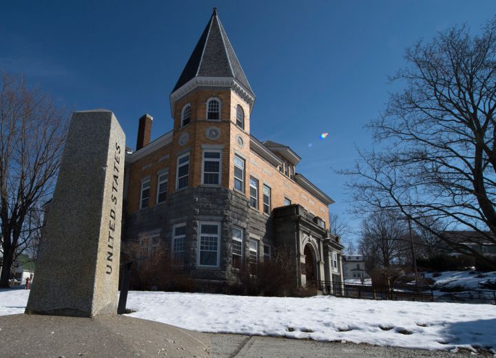 The Haskell Free Library and Opera House straddles the US/Canada border on February 28, 2017, in Stanstead, Quebec and Derby