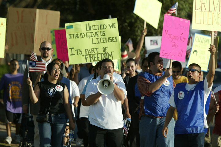 About 150 people participated in a peaceful march in support of Senator Gill Cedillo's SB1160 Drivers License Bill that would