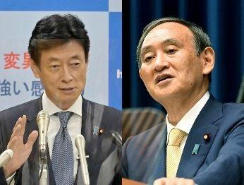 西村康稔経済再生担当大臣(左)と菅義偉首相(右)