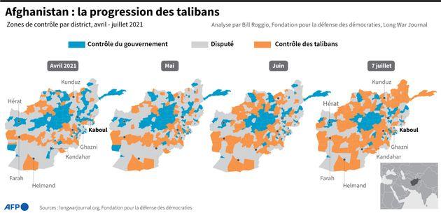 Cartes montrant l'évolution des zones de contrôle du territoire afghan par le gouvernement ou les talibans,...