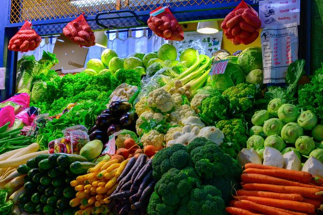 Organic vegetable and Fruit aisle in grocery store