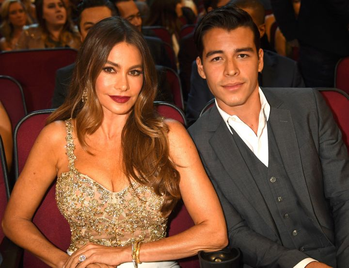Sofia Vergara and her son, Manolo Gonzalez Vergara, at the People's Choice Awards in 2017.
