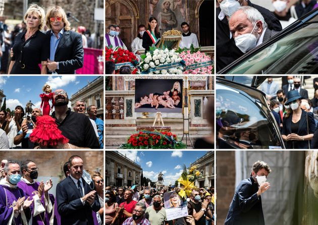 Una combo di alcuni momenti della cerimonia funebre per Raffaella Carrà svoltasi nella basilica di Santa...