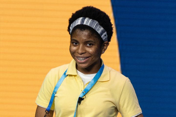 Zaila Avant-garde competes in the first round of the the Scripps National Spelling Bee finals in Orlando, Florida, on July 8.