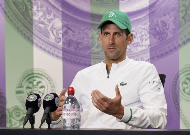 Tennis - Wimbledon - All England Lawn Tennis and Croquet Club, London, Britain - July 9, 2021 Serbia's Novak Djokovic attends a press conference Pool via REUTERS/Joe Toth