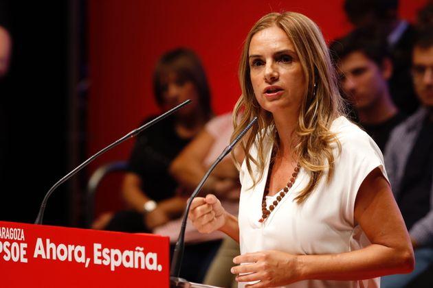 Pilar Alegría, en un acto electoral en Zaragoza, en