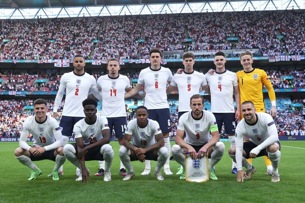 Players of England pose for a team photograph prior to the UEFA Euro 2020 Championship