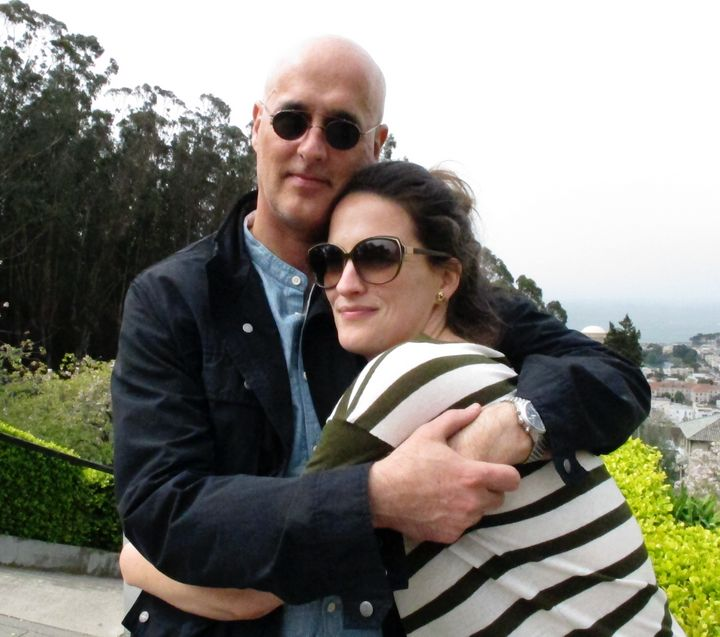 """A picture of the author and her dad before the trip during which he died. She notes, """"I thankfully couldn't throw this photo"""