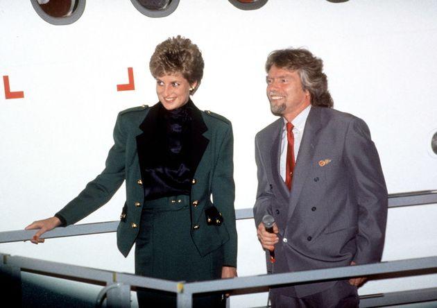 Richard Branson con la princesa Diana de la que fue muy
