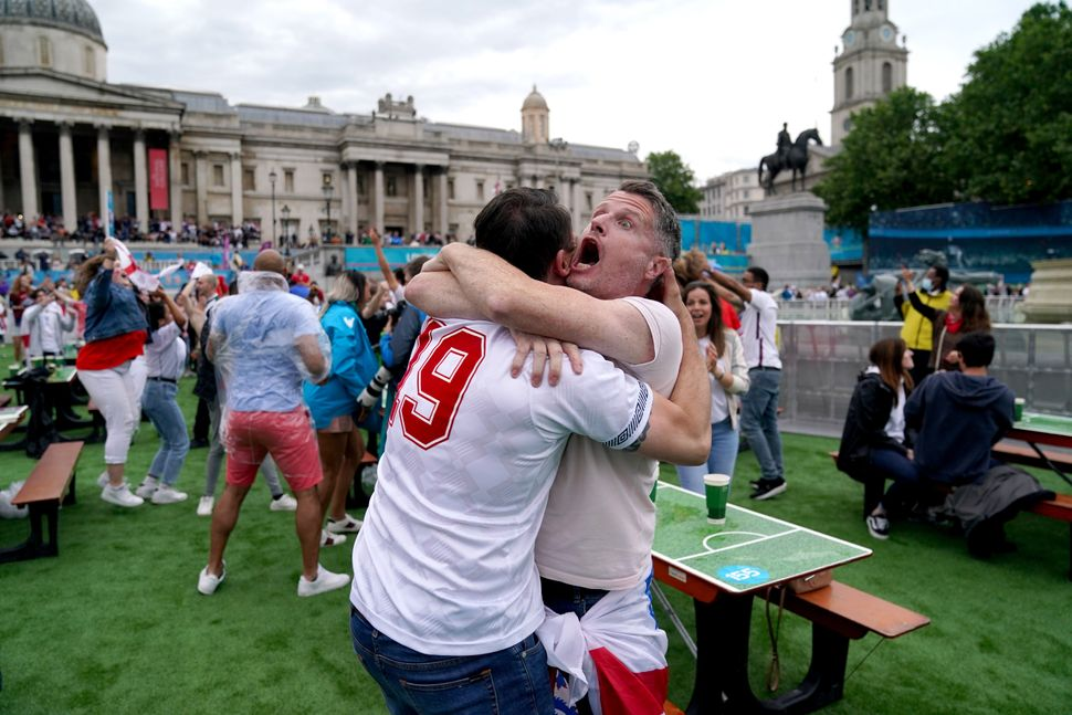 England fans celebrate as Shaw