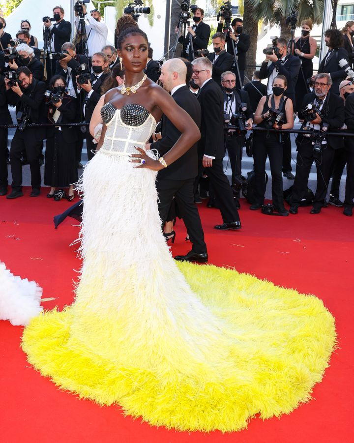 """Jodie Turner-Smith arrives at the """"Stillwater"""" red carpet for the74th Annual Cannes Film Festival."""