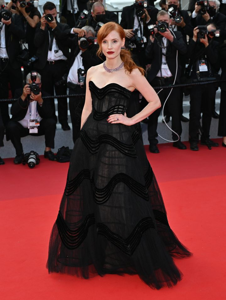 Jessica Chastain arrives at the opening ceremony of the74th Cannes Film Festival.