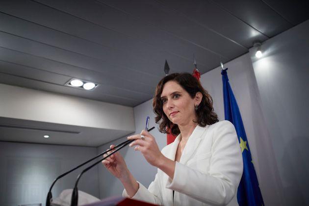 Ayuso, en la rueda de prensa en La Moncloa el pasado