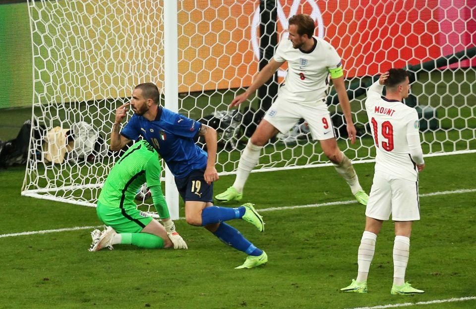 LONDON, ENGLAND - JULY 11: Leonardo Bonucci of Italy celebrates after scoring their team's first goal...