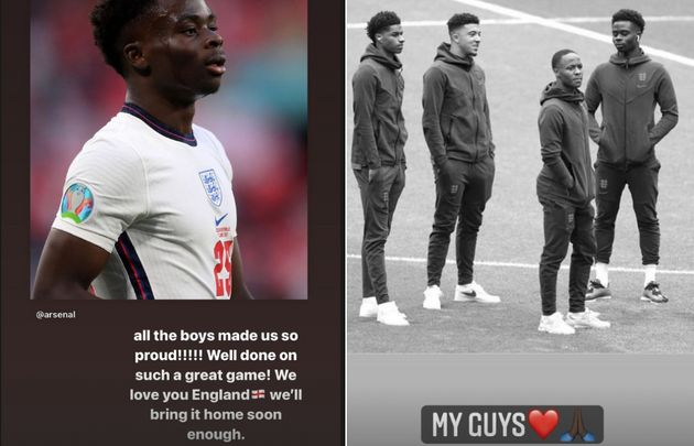Dua Lipa and Dave both posted in support of the team on their Instagram