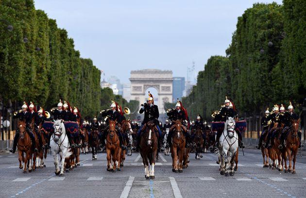 Les répétitions du défilé du 14 Juillet, sur les Champs Elysées, le 9 juillet 2021 à