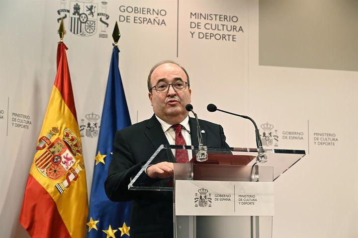 Miquel Iceta en su discurso de toma de posesión de la cartera de Cultura y Deportes el lunes 12 de julio.