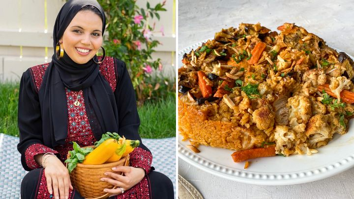 Heifa and her version of makloubeh, an aromatic rice dish that's plated upside down.