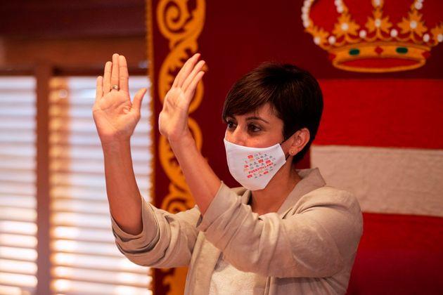 Isabel Rodríguez en su pleno de despedida en