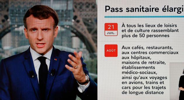 Le président de la République Emmanuel Macron a annoncé, lors d'un discours le 12 juillet, un élargissement...
