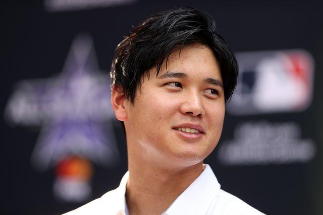 オールスターゲームを前に、記者会見した大谷翔平選手(2021年7月12日)