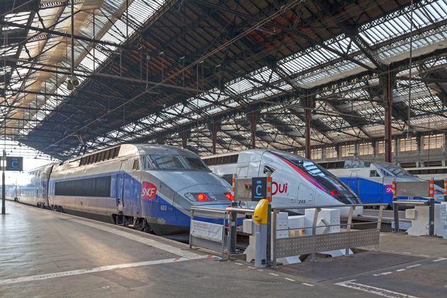 Paris, France - March 26 2019: TGVs at Gare de Lyon ready for