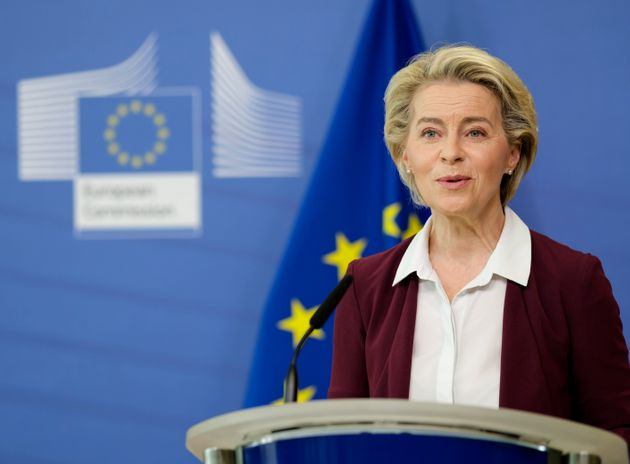 BRUSSELS, BELGIUM - JULY 10: President of the European Commission, Ursula von der Leyen speaks to media during a virtual press conference at Berlaymont, the EU Commissions headquarters on July 10, 2021 in Brussels, Belgium. Von der Leyen declares