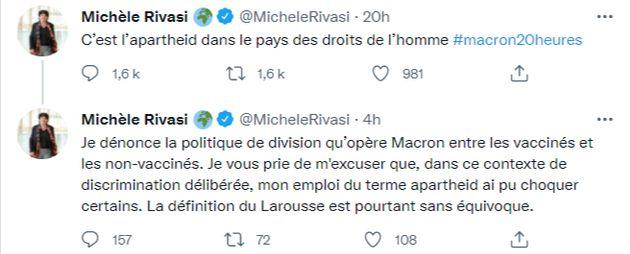 Capture des tweets publiés mardi 13 juillet par Michèle
