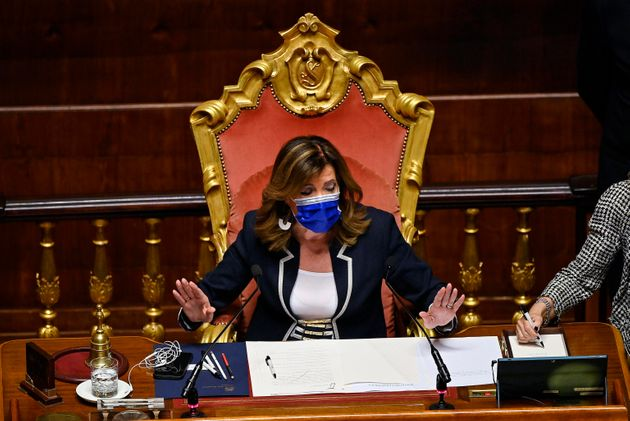 Maria Elisabetta Alberti Casellati, presidente del Senato, durante la discussione in Senato sul ddl Zan,...