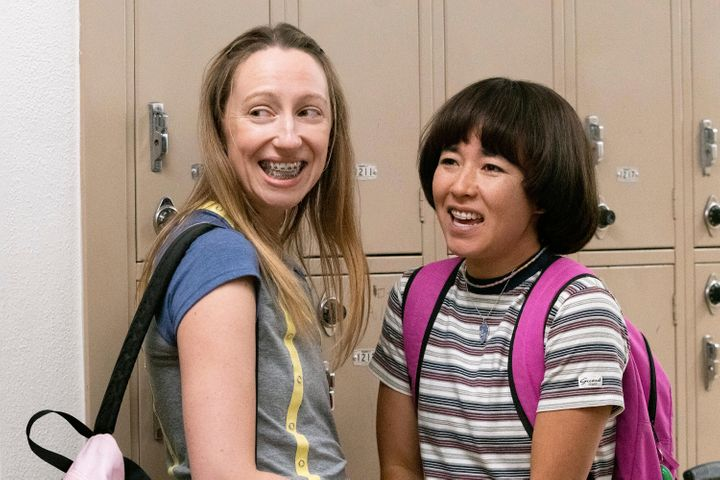 """This image released by Hulu shows Anna Konkle, left, and Maya Erskine in a scene from """"Pen15.""""  The program was nominated for"""
