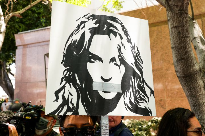 #FreeBritney activists protest at Los Angeles Grand Park during a conservatorship hearing for Britney Spears on June 23, 2021