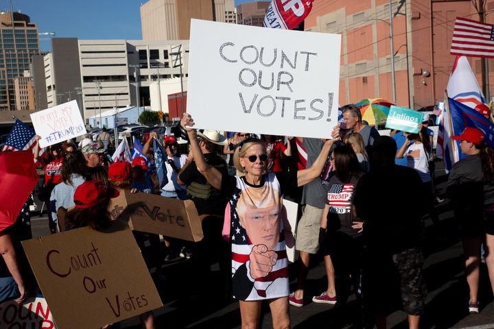 Supporters of Donald Trump asked for the counting of votes during a Nov. 5 protest against the election results at the Marico