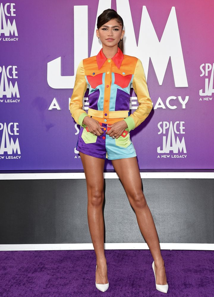 """Zendaya attends the Premiere of Warner Bros.' """"Space Jam: A New Legacy"""" at Regal LA Live on July 12 in Los Angeles, Californi"""