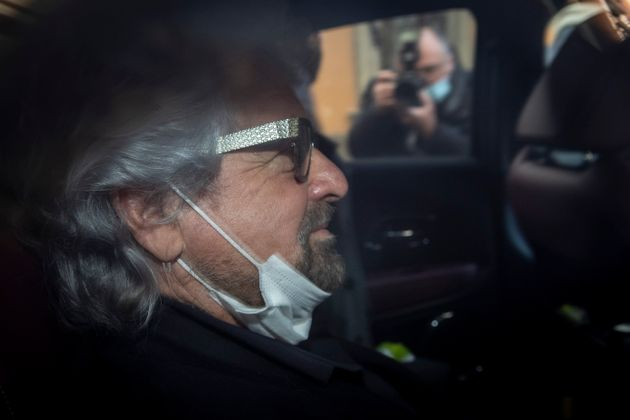 ROME, ITALY - FEBRUARY 6: Beppe Grillo, co-founder of the 5-Stars Movement leaves the Chamber of Deputies following a meeting with the designated Prime Minister Mario Draghi on formation of a new government at the Montecitorio palace, on February , 2021 in Rome, Italy. Designated Prime Minister Mario Draghi has formally accepted the mandate to form a new government following the resignation of Giuseppe Conte. (Photo Antonio Masiello/Getty Images)