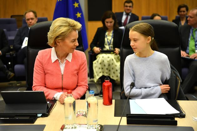 BRUSSELS, BELGIUM - MARCH 04: Swedish environmentalist Greta Thunberg attends a meeting with President...