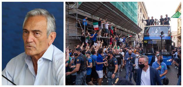 Il presidente Figc Gravina e la Nazionale Italiana che festeggia la vittoria agli Europei