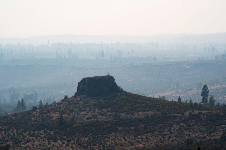 Smoke fills the air near the Bootleg Fire, on July 13, 2021, near Sprague River, Ore.