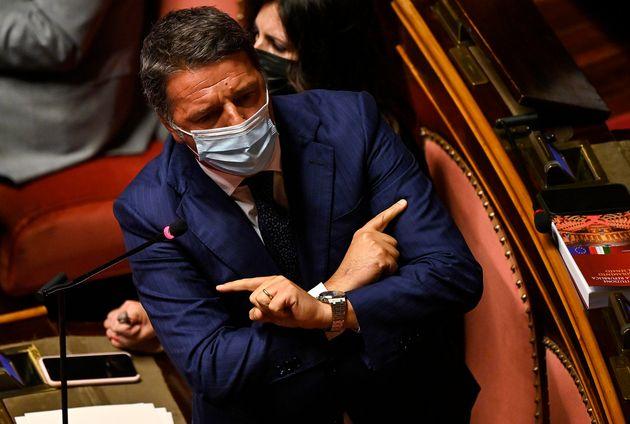 Il leader di Italia Viva Matteo Renzi durante la discussione in Senato sul ddl Zan, Roma, 13 luglio 2021....