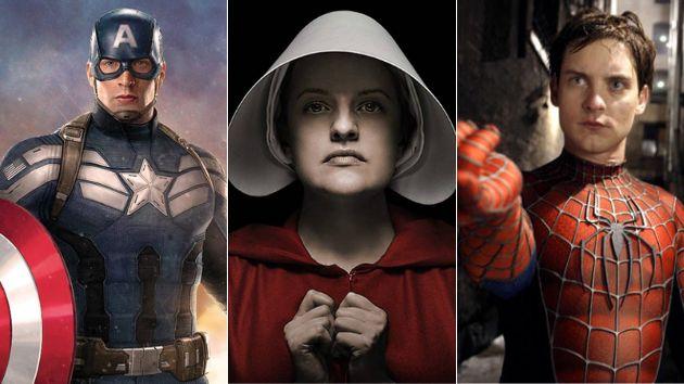 Una imagen de Capitán América, El cuento de la criada y Spiderman.