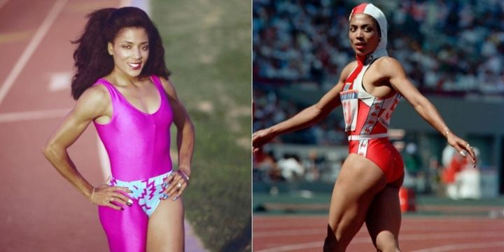 Flo-Jo's custom track suits were strikingly unique from other runners' looks.