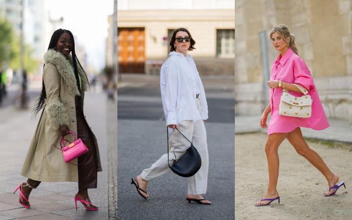There are many ways to style your heeled flip-flops.