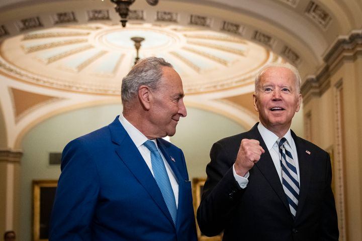 WASHINGTON, DC - JULY 14: President Biden is on the Hill to discuss with Senate Democrats the $3.5 trillion reconciliation pa