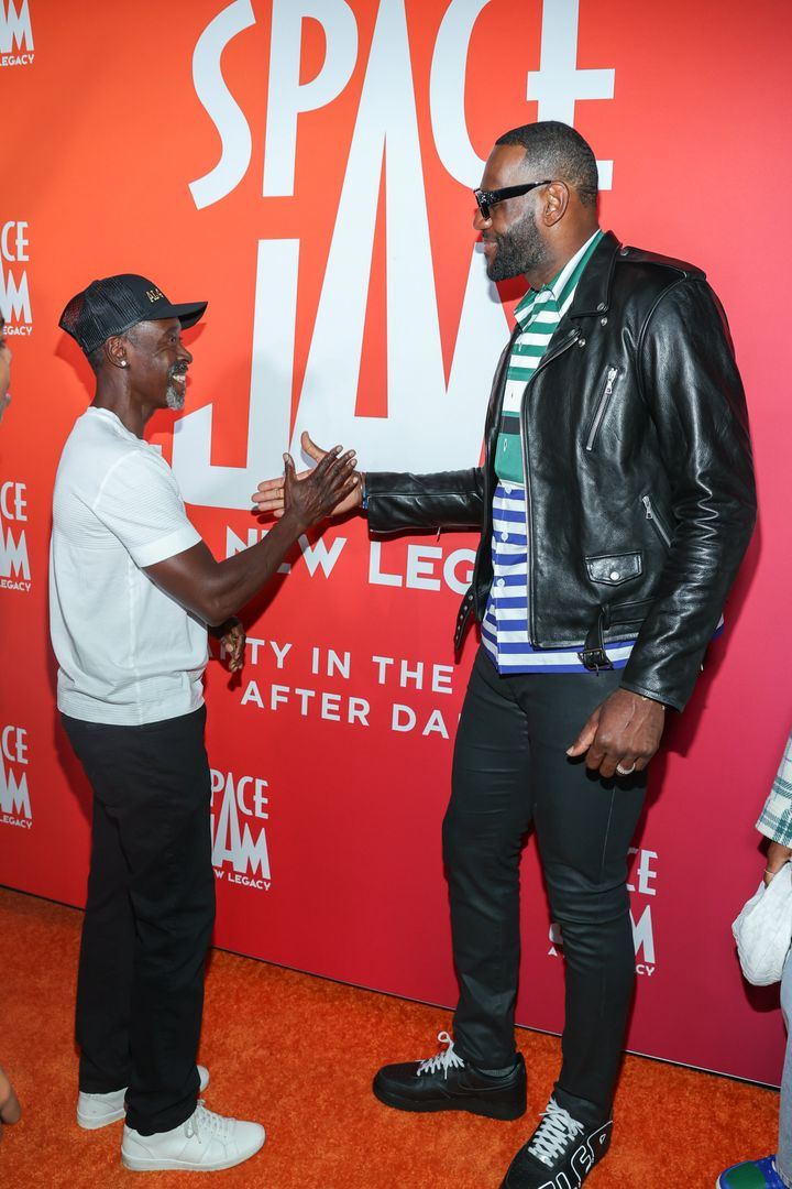 """Don Cheadle and LeBron James at a """"Space Jam: A New Legacy"""" event June 29 in Valencia, California."""