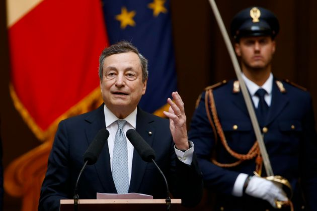 Italian Prime Minister, Mario Draghi, during a ceremony for players and staff of Italy's national football...