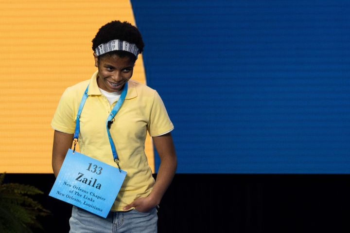 Zaila Avant-garde competes July 8 in the first round of the Scripps National Spelling Bee finals in Orlando, Florida.