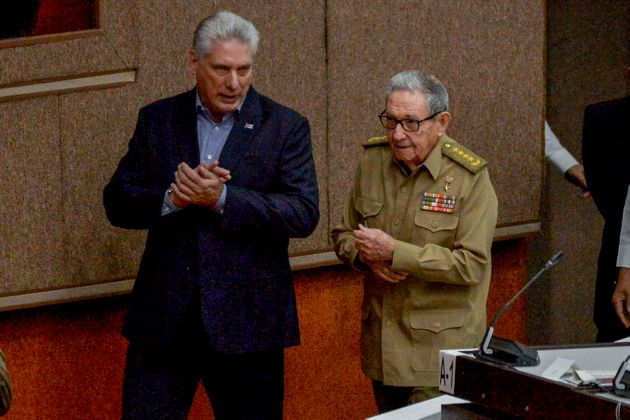 Cuban President Miguel Diaz Canel (L) and First Secretary of the Cuban Communist Party, Cuban former president Raul Castro