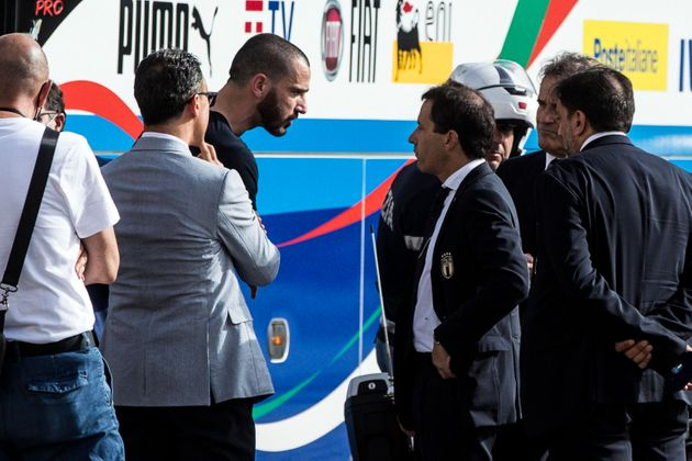 Italian player Leonardo Bonucci leaves the Quirinale Palace at the end of the meeting with the Italian...